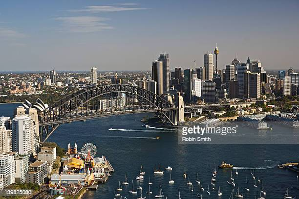 Aerial view of Luna Park, Sydney Harbour and Harbour Bridge, Sydney, New South Wales, Australia