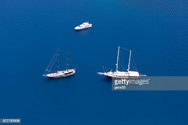 Aerial View of Luxury yachts