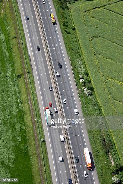 Aerial view of M11 motorway and vehicles