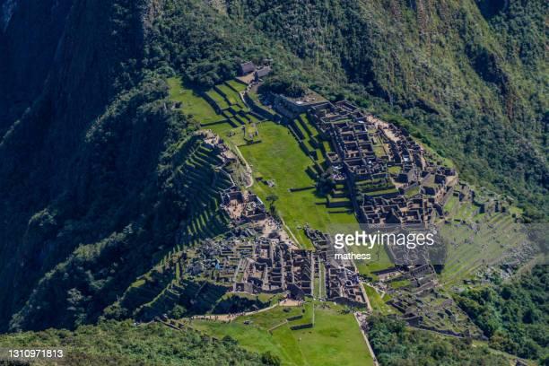 aerial view machu picchu ruins from