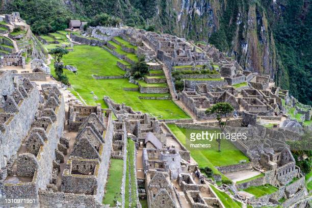 aerial view machu picchu ruins peru