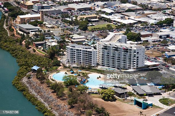 Aerial view of Mackay Bluewater Lagoon public swimming pool