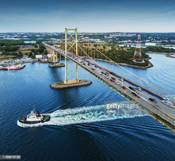aerial view of mackay bridge - nova scotia stock pictures, royalty-free photos & images