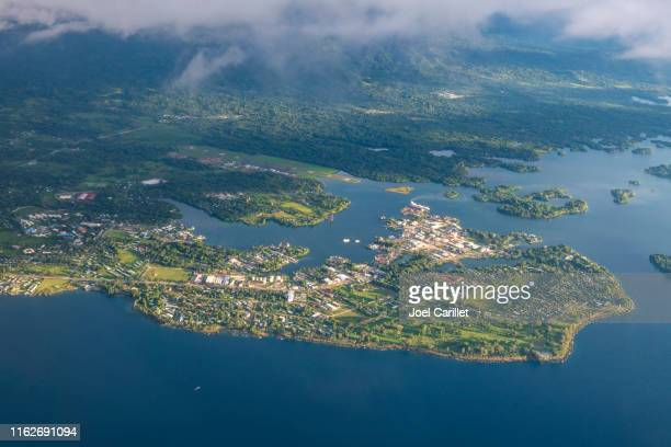 aerial view of madang, papua new guinea - papua new guinea stock pictures, royalty-free photos & images