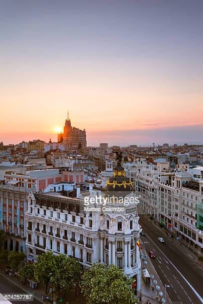 aerial view of madrid city at sunset, spain - madrid stock-fotos und bilder
