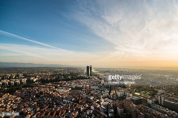 aerial view of madrid, spain - madrid stockfoto's en -beelden