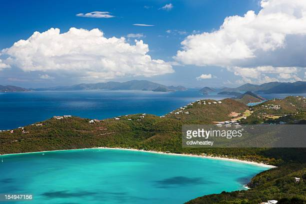 aerial view of magens bay in saint thomas, virgin islands - magens bay stock photos and pictures