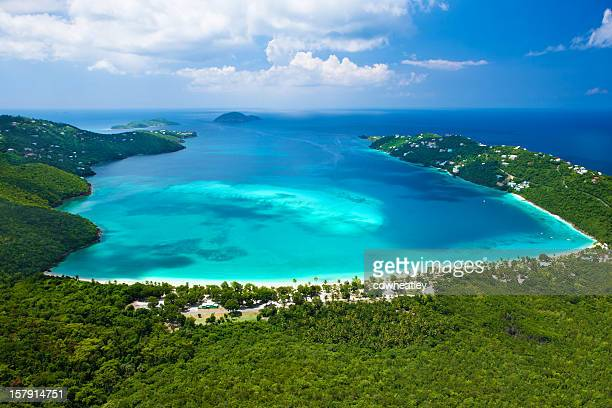 aerial view of magens bay, saint thomas, us virgin islands - magens bay stock photos and pictures