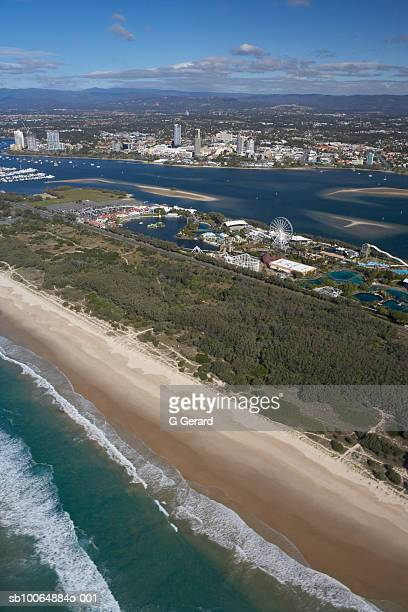 Aerial view of Main Beach and Sea World Nara Resort, the Gold Coast, Queensland, Australia