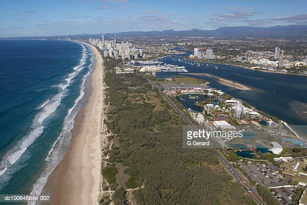 Aerial view of Main Beach and Sea World Nara Resort, the Gold Coast, with Surfers Paradise in the distance, Queensland, Australia