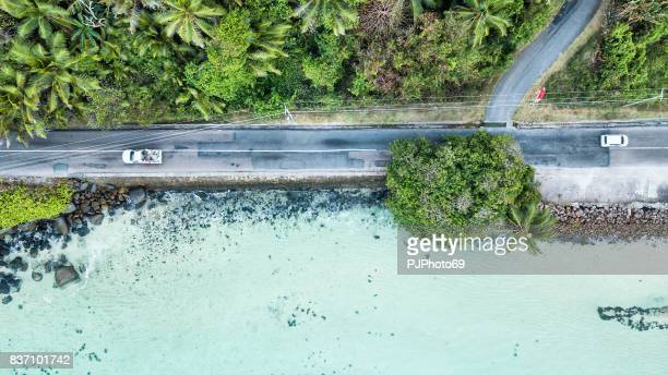 Aerial view of main road of Mahe Island on the sea - Seychelles
