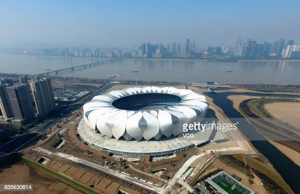 Aerial view of Main Stadium of Hangzhou Olympic Sports Center on February 16 2017 in Hangzhou Zhejiang Province of China Chosen to be the main venue...