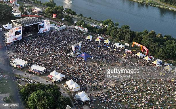 Aerial view of main stage at Donauinselfest DIF 2016 Vienna at Donauinsel on June 25 2016 in Vienna Austria