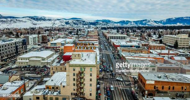 aerial view of main street in bozeman montana - bozeman stock pictures, royalty-free photos & images