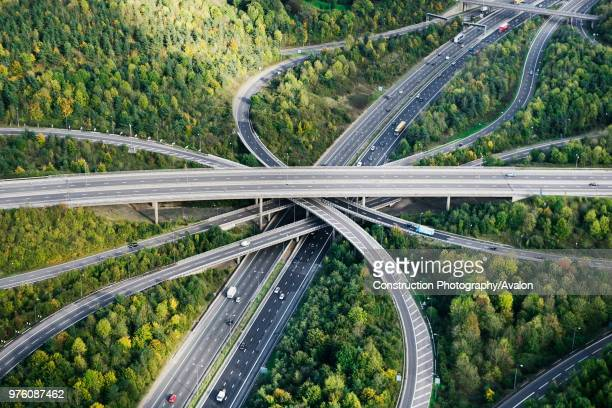 Aerial View of major motorway road intersection