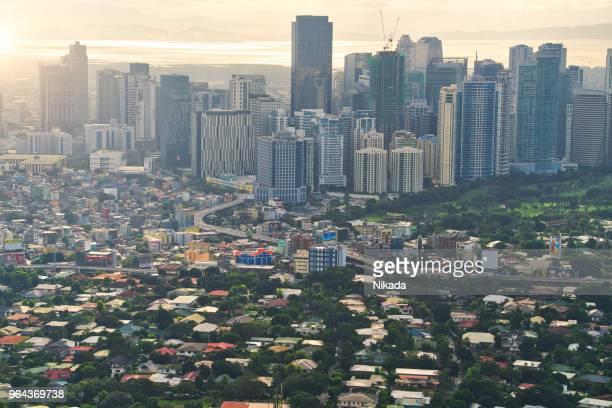 aerial view of makati skyline, metro manila - philippines - metro manila stock photos and pictures