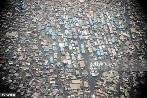 Aerial view of Makoko in Yaba Area of Lagos, Nigeria on Wednesday, April 13, 2016. A community that is inhabited predominantly by a mixed offishermen...