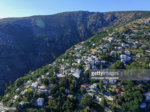 Aerial view of Makrinitsa village with traditional Pelion architecture on July 09 2016 in PelionGreece