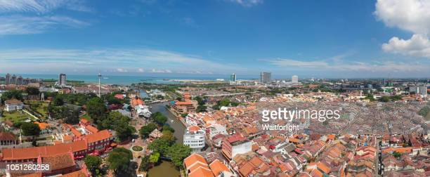 aerial view of malacca cityscape,malaysia - melaka state stock pictures, royalty-free photos & images