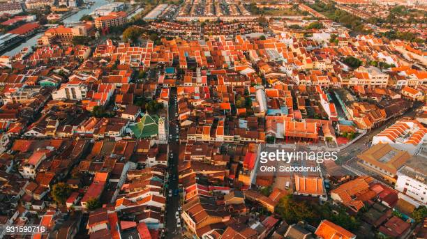 Aerial view of Malacca town  at dawn