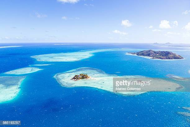 aerial view of mamanucas islands, fiji - western division fiji stock photos and pictures