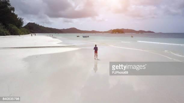 luchtfoto van man loopt op tropisch strand in seychellen - pjphoto69 stockfoto's en -beelden