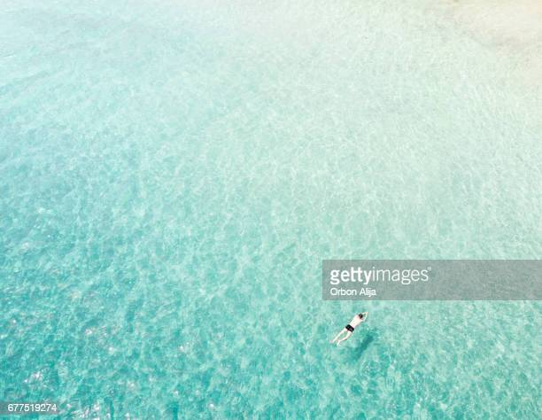 Aerial view of man swimming