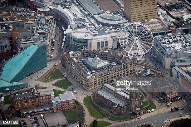 Aerial view of Manchester city centre on March 28 2008 in Manchester UK