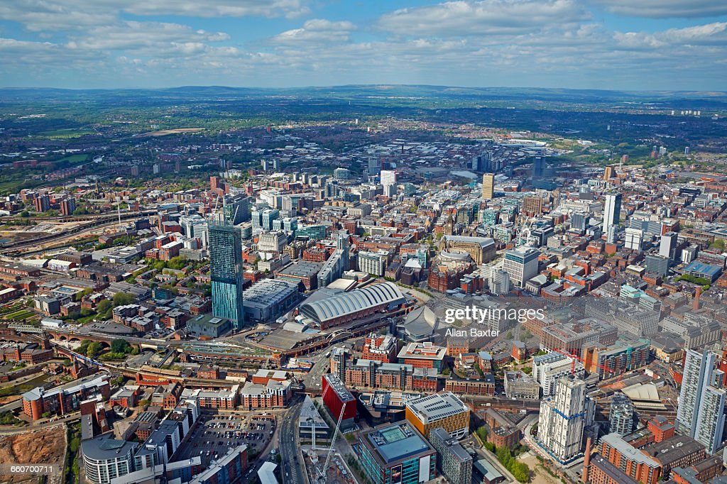 Aerial view of Manchester City centre : Stock Photo