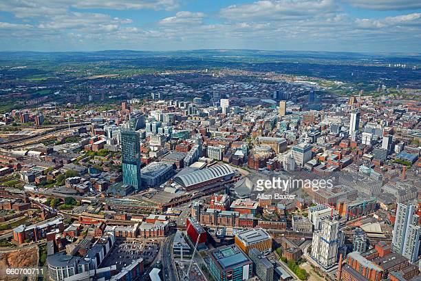 aerial view of manchester city centre - manchester uk stock photos and pictures