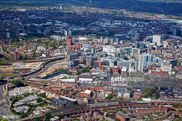 aerial view of manchester city centre - greater manchester stock pictures, royalty-free photos & images