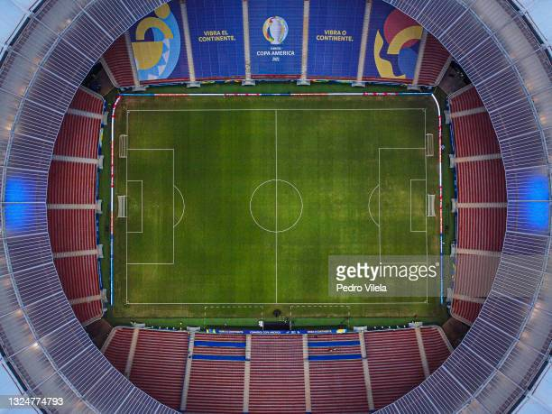 Aerial view of Mane Garrincha Stadium before a group A match between Argentina and Paraguay as part of Conmebol Copa America Brazil 2021 on June 21,...