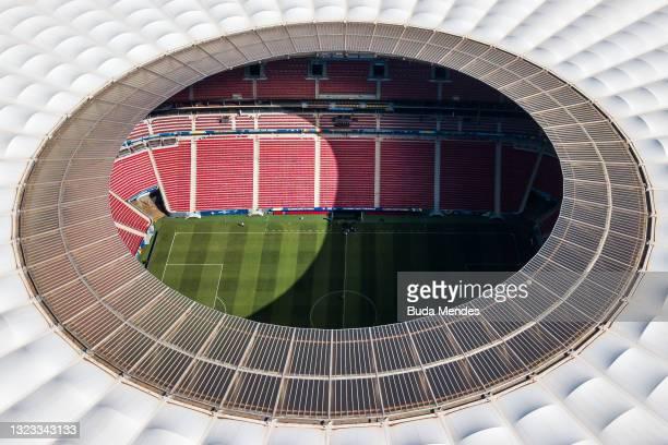Aerial view of Mane Garrincha Stadium before the opening match of Copa America 2021 between Brazil and Venezuela on June 13, 2021 in Brasilia, Brazil.