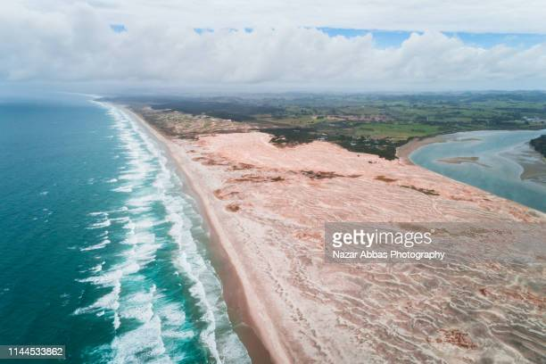 Aerial view of Mangawhai heads, North Island, New Zealand.