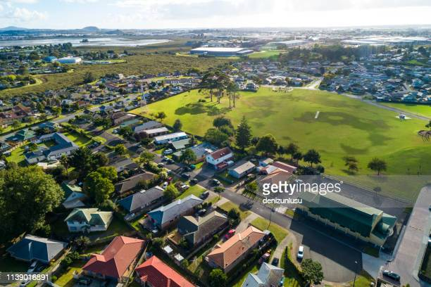 aerial view of mangere, auckland - residential district stock pictures, royalty-free photos & images