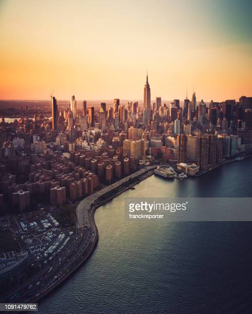 aerial view of manhattan city - new york state stock pictures, royalty-free photos & images