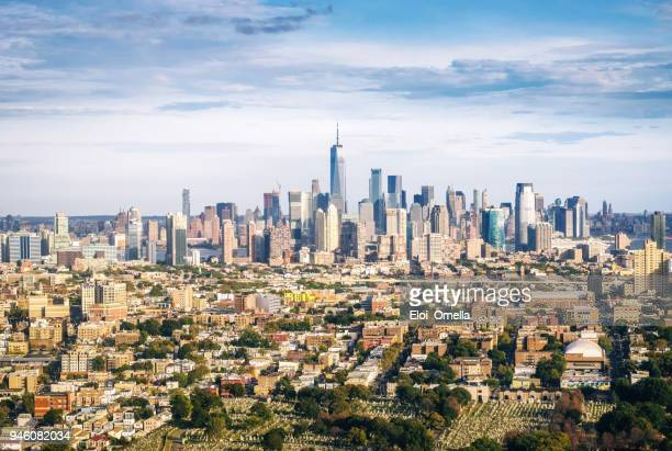 aerial view of Manhattan from Jersry City. New York. USA