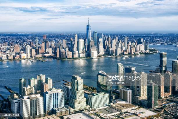 aerial view of manhattan from jersry city. new york. usa - new jersey stock pictures, royalty-free photos & images