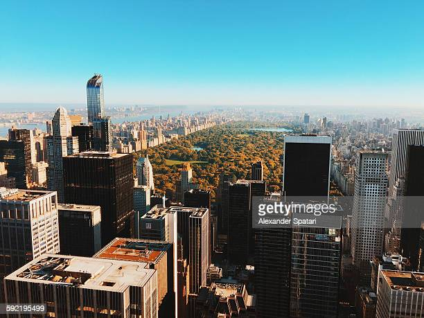 Aerial view of Manhattan in autumn
