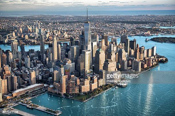 aerial view of manhattan in new york - new york skyline stock photos and pictures