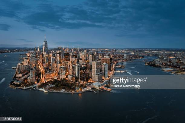aerial view of manhattan island, new york city, new york state, united states - cityscape stock pictures, royalty-free photos & images