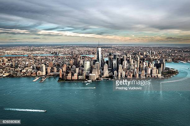 aerial view of manhattan island - lower manhattan stock photos and pictures