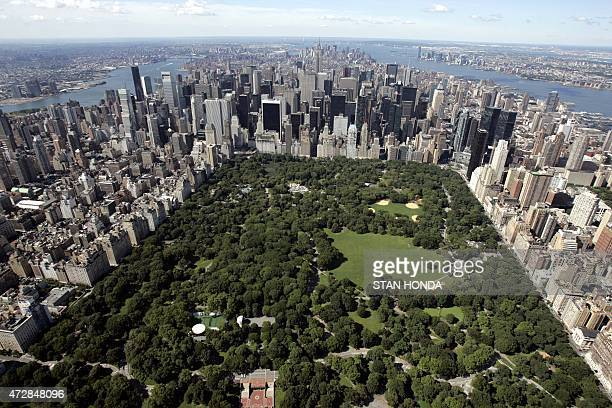 Aerial view of Manhattan looking south over Central Park 01 July 2007 in New York City