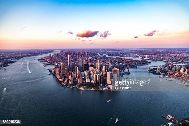 aerial view of manhattan, new york, united states of america - lower manhattan stock photos and pictures