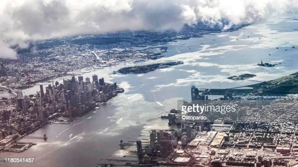 aerial view of manhattan - newark new jersey stock pictures, royalty-free photos & images