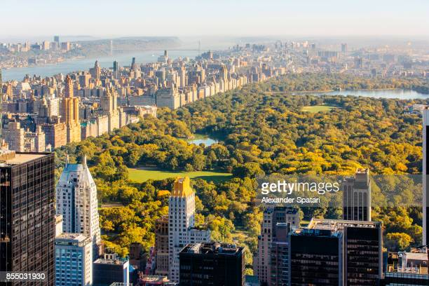Aerial view of Manhattan skyline and Central Park, New York, United States