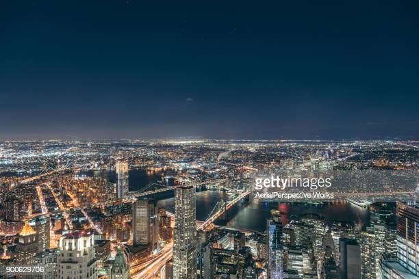 Aerial View of Manhattan Skyline at Night