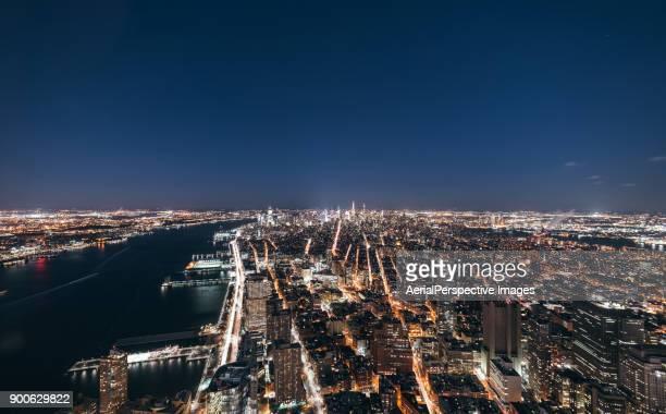 Aerial view of Manhattan Skyline at Night