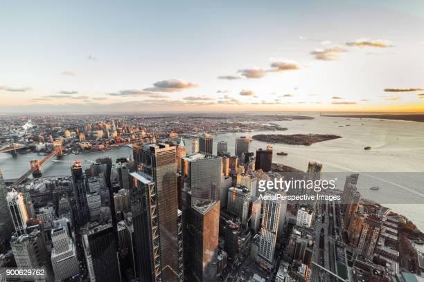 Aerial View of Manhattan Skyline at Sunset