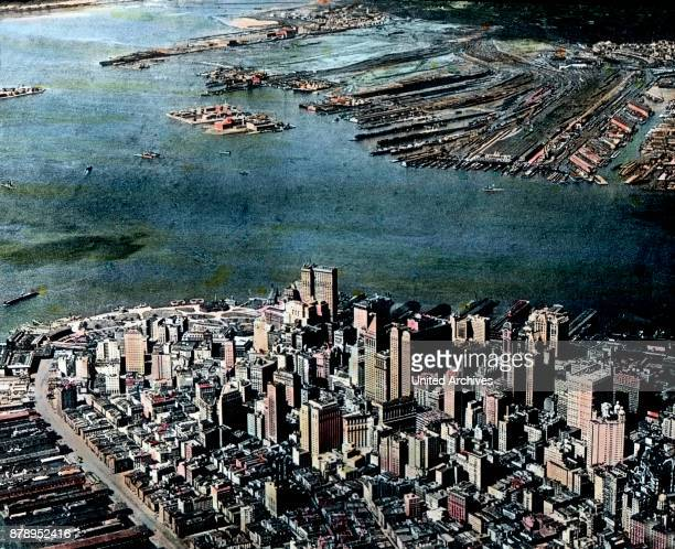 Aerial view of Manhattan the southern tip of New York